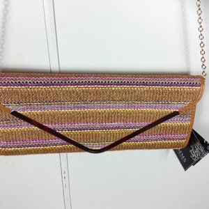MMS Design Studio Raffia Clutch Purse w/ Chain